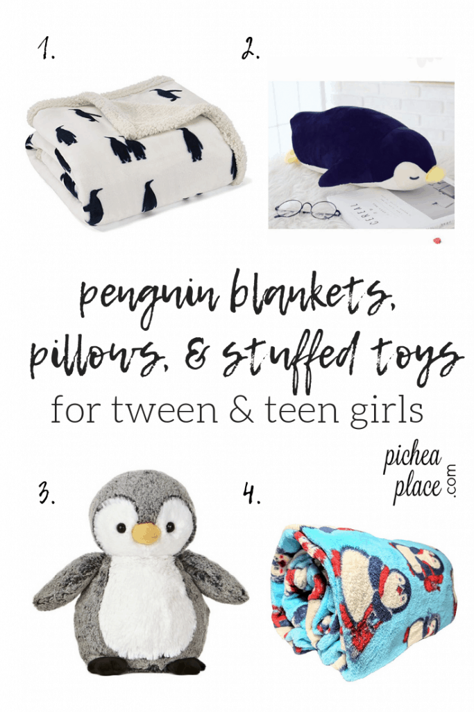 penguin blankets, pillows, & stuffed toys - great gift ideas for tween & teen girls