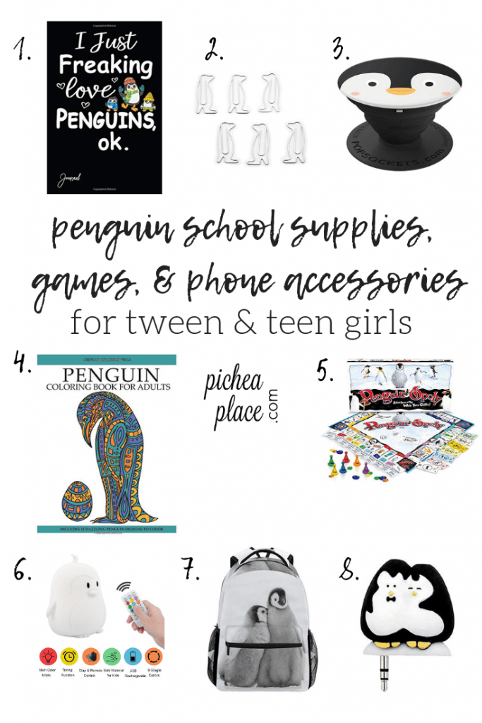 penguin school supplies, games, & phone accessories - great gift ideas for tween & teen girls